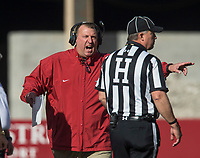 Hawgs Illustrated/BEN GOFF <br /> Bret Bielema, Arkansas head coach, shouts to an official in the first quarter Friday, Nov. 24, 2017, at Reynolds Razorback Stadium in Fayetteville.