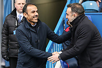 (L-R) Sheffield Wednesday manager Jos Luhukay greets Swansea manager Carlos Carvalhal during The Emirates FA Cup Fifth Round match between Sheffield Wednesday and Swansea City at Hillsborough, Sheffield, England, UK. Saturday 17 February 2018