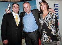 Repro Free.from left to right: Eoghan Corry from Travel Extra, Winner of the Sun Holiday Journalist of the Year Sponsored by Falcon Mark Evans from The Evening Herald and Helen Caras from Falcon..Travel Extra,Travel Journalist of the Year Awards at the Thomas Prior House Ballsbridge. The event which was sponsored by The Spanish Tourist board gave out 12 awards for different catagories. .This year saw a huge increase in the number of submissions from previous years, displaying the creativity and continuning innovation of travel and tourism journalism in Ireland..Collins Photos 25/1/13
