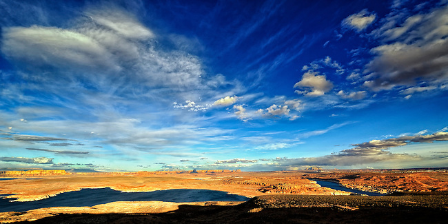 High clouds over Lake Powell at sunset