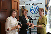 Irish Independent Lady Captains Golf Classic Regional Finals.. Louise Collins Right presents Laytown/Bettystown Millie Wade and Rita Long second Place with 36 points...Photo: Fran Caffrey/ Newsfile.