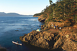 San Juan Islands, Sea kayakers paddling, camping on Strawberry Island, Rosario Strait, Washington State, Pacific Northwest, Cascadia Marine Trail, site..