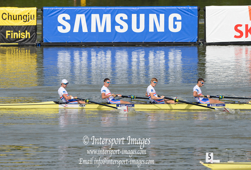 Chungju, South Korea. GBR LM4- Bronze Medalist, 	Adam FREEMAN-PASK (b) , William FLETCHER (2) , Jonathan CLEGG (3) , Chris BARTLEY (s)<br /> <br /> 2013 Rowing Championships, Tangeum Lake, International Regatta Course.  Sunday  01/09/2013 [Mandatory Credit. Peter Spurrier/Intersport Images]