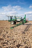 Spraying winter ploughing with Glyphosate - Lincolnshire, March