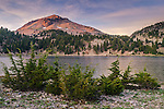 Lassen Peak rising over Lake Helen, Lassen Volcanic National Park, California