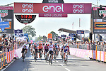 Caleb Ewan (AUS) Lotto-Soudal crosses the finish line ahead of Arnaud Demare (FRA) Groupama-FDJ at the end of Stage 11 of the 2019 Giro d'Italia, running 221km from Carpi to Novi Ligure, Italy. 22nd May 2019<br /> Picture: Massimo Paolone/LaPresse | Cyclefile<br /> <br /> All photos usage must carry mandatory copyright credit (© Cyclefile | Massimo Paolone/LaPresse)