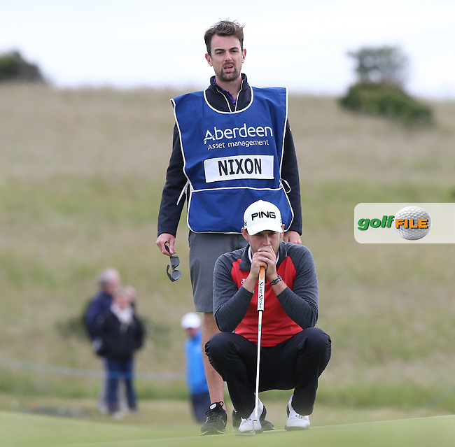 Matthew Nixon (ENG) and caddie Adam during Round Three of the 2015 Aberdeen Asset Management Scottish Open, played at Gullane Golf Club, Gullane, East Lothian, Scotland. /11/07/2015/. Picture: Golffile | David Lloyd<br /> <br /> All photos usage must carry mandatory copyright credit (&copy; Golffile | David Lloyd)