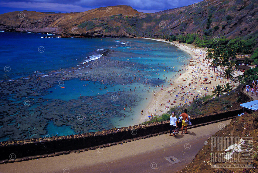 Tourists at Oahu's Hanauma Bay