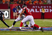 Canton, Ohio - August 1, 2019: Denver Broncos quarterback Drew Lock #3 is sacked by Atlanta Falcons defensive tackle Jacob Tuioti-Mariner #79 during a pre-season game at the Tom Benson Hall of Fame stadium in Canton, Ohio August 1, 2019. This game marks start of the 100th season of the NFL. (Photo by Don Baxter/Media Images International)