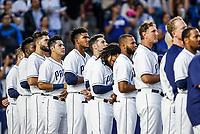 Christian Villanueva y Freddy Galvis de San Diego, durante el partido de beisbol de los Dodgers de Los Angeles contra Padres de San Diego, durante el primer juego de la serie las Ligas Mayores del Beisbol en Monterrey, Mexico el 4 de Mayo 2018.<br /> (Photo: Luis Gutierrez)