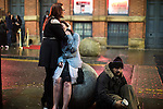 "© Joel Goodman - 07973 332324 . 17/12/2016 . Manchester , UK . Two woman hug on Dantzic Street , outside the Printworks . Revellers out in Manchester City Centre overnight during "" Mad Friday "" , named for being one of the busiest nights of the year for the emergency services in the UK . Photo credit : Joel Goodman"