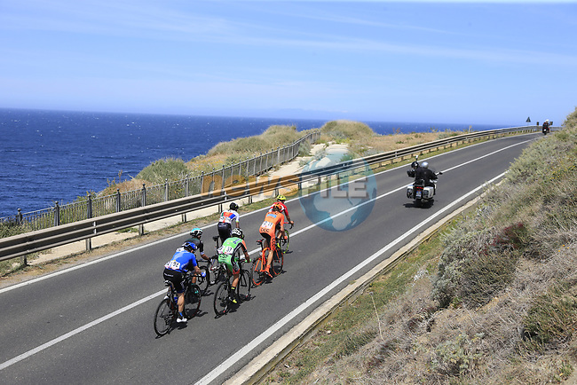 The breakaway group approach Castelsardo along the Costa Smeralda during Stage 1 of the 100th edition of the Giro d'Italia 2017, running 206km from Alghero to Olbia, Sardinia, Italy. 4th May 2017.<br /> Picture: Eoin Clarke | Cyclefile<br /> <br /> <br /> All photos usage must carry mandatory copyright credit (&copy; Cyclefile | Eoin Clarke)<br /> <br /> All photos usage must carry mandatory copyright credit (&copy; Cyclefile | LaPresse)