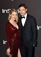 LOS ANGELES, CALIFORNIA - JANUARY 06: Ashley Hinshaw and Topher Grace attend the Warner InStyle Golden Globes After Party at the Beverly Hilton Hotel on January 06, 2019 in Beverly Hills, California. <br /> CAP/MPI/IS<br /> &copy;IS/MPI/Capital Pictures