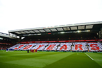 General View of a mosaic formed by Liverpool fans  honouring the victims of the Hillsborough disaster on its 30th Anniversary as players and fans acknowledge a minutes silence<br /> <br /> Photographer Richard Martin-Roberts/CameraSport<br /> <br /> The Premier League - Liverpool v Chelsea - Sunday 14th April 2019 - Anfield - Liverpool<br /> <br /> World Copyright © 2019 CameraSport. All rights reserved. 43 Linden Ave. Countesthorpe. Leicester. England. LE8 5PG - Tel: +44 (0) 116 277 4147 - admin@camerasport.com - www.camerasport.com