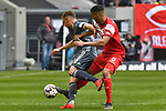 14.04.2019, Merkur Spiel-Arena, Duesseldorf, GER, DFL, 1. BL, Fortuna Duesseldorf vs FC Bayern Muenchen, DFL regulations prohibit any use of photographs as image sequences and/or quasi-video<br /> <br /> im Bild v. li. im Zweikampf Joshua Kimmich (#32, FC Bayern M&uuml;nchen / Muenchen) Aymane Barok (#8, Fortuna Duesseldorf) <br /> <br /> Foto &copy; nph/Mauelshagen