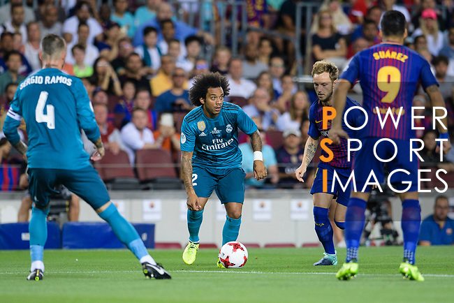 Marcelo da Silva of Real Madrid in action during the Supercopa de Espana Final 1st Leg match between FC Barcelona and Real Madrid at Camp Nou on August 13, 2017 in Barcelona, Spain. Photo by Marcio Rodrigo Machado / Power Sport Images