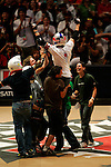 Kevin Robinson celebrates his landing of the double flair while competing in the BMX Freestyle Vert Best Trick finals during X-Games 12 in Los Angeles, California on August 4, 2006.