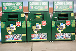 Clothing and shoes recycling collection containers, Martlesham, Ipswich, Suffolk