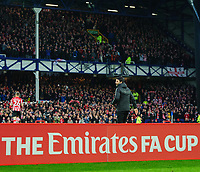 Lincoln City manager Danny Cowley walks towards to the fans prior to the game<br /> <br /> Photographer Chris Vaughan/CameraSport<br /> <br /> Emirates FA Cup Third Round - Everton v Lincoln City - Saturday 5th January 2019 - Goodison Park - Liverpool<br />  <br /> World Copyright &copy; 2019 CameraSport. All rights reserved. 43 Linden Ave. Countesthorpe. Leicester. England. LE8 5PG - Tel: +44 (0) 116 277 4147 - admin@camerasport.com - www.camerasport.com