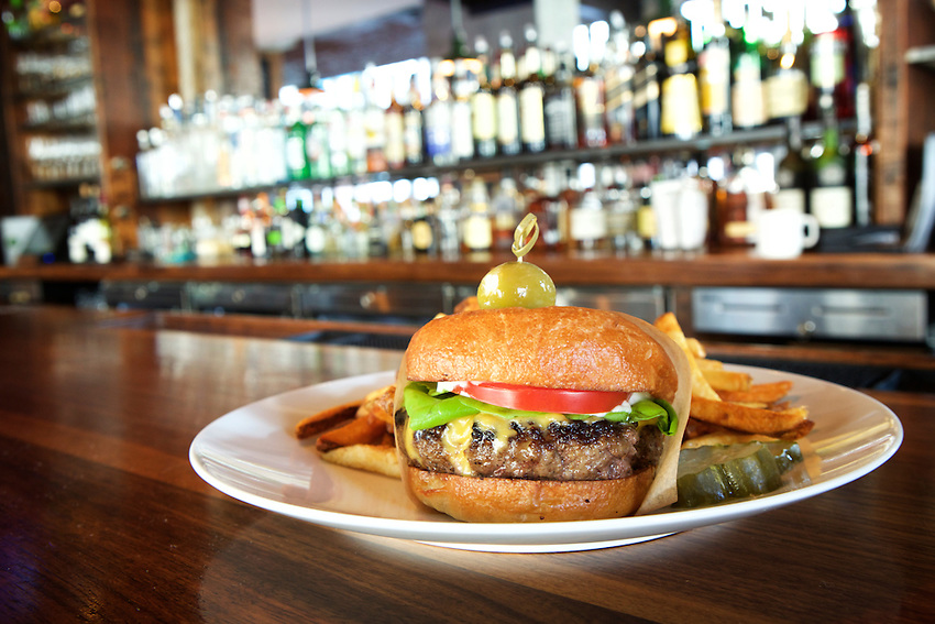 Jersey City, NJ - January 14, 2016: The Hook Burger at Greene Hook. CREDIT: Clay Williams for Edible Jersey.<br /> <br /> <br /> &copy; Clay Williams / claywilliamsphoto.com