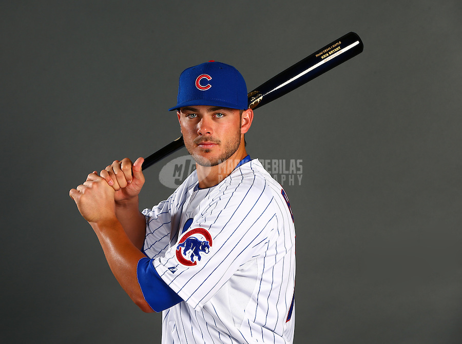 Mar 2, 2015; Mesa, AZ, USA; Chicago Cubs infielder Kris Bryant poses for a portrait during photo day at the training center at Sloan Park. Mandatory Credit: Mark J. Rebilas-USA TODAY Sports