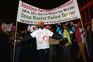 Washington, DC - November 25, 2014: Thousands of protesters march through the streets of the District of Columbia, November 25, 2014, in support of police reform and in solidarity with protesters in Ferguson, MO.  (Photo by Don Baxter/Media Images International)