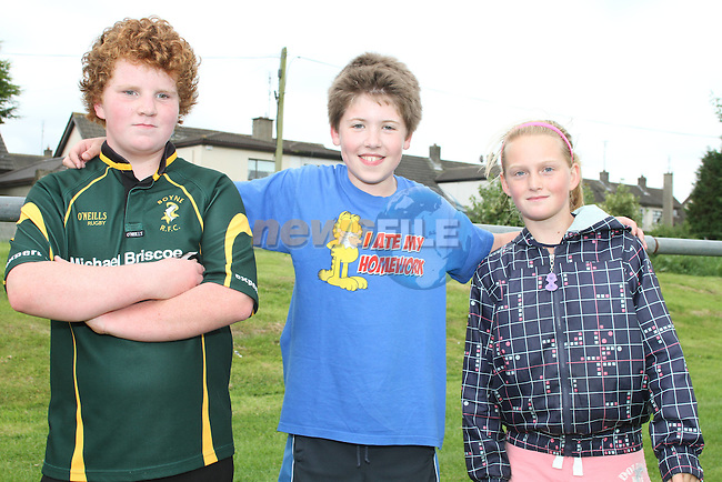 Dylan Drew, Finbar Conlon and Elizabeth Keogh at the Summer Camp in Boyne Rugby Football Club...Picture Jenny Matthews/Newsfile.ie