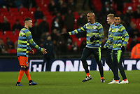 Vincent Company of Manchester City has a laugh with teammates during the warm up of Tottenham Hotspur vs Manchester City, Premier League Football at Wembley Stadium on 29th October 2018