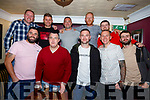 The Monday football team celebrating in the Greyhound Bar on Saturday night. <br /> Front l-r, Philip Moriarty, Philip Brosnan, Damien Moylan, Paul Galway and Chris Lean.<br /> Back l-r, Philip Lehane, Billy Stack, Liam Moylan, Kieran McCaughley and Jamie O&rsquo;Sullivan.