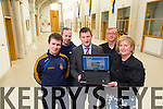 Tim McMahon, Mark Rale, Robert Flaherty (Deputy), Damien McLoughlin, Ann O'Callaghan (Principal) Launching the Past Pupils of  CBS The Green, Tralee Alumni web site on Friday
