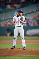 Round Rock Express starting pitcher A.J. Griffin (56) looks in for the sign during a game against the Memphis Redbirds on April 28, 2017 at AutoZone Park in Memphis, Tennessee.  Memphis defeated Round Rock 9-1.  (Mike Janes/Four Seam Images)