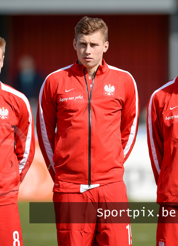 20160326  - Groesbeek , NETHERLANDS : Polish Jakub Piotrowski (19) pictured during the soccer match between the under 19 teams of Ukraine and Poland , on the second matchday in group 4 of the UEFA Under19 Elite rounds in Groesbeek , Netherlands. Saturday 26 th March 2016 . PHOTO DAVID CATRY