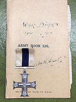 BNPS.co.uk (01202 558833)<br /> Pic: CharterhouseAuction/BNPS<br /> <br /> Pictured: The diary is being sold at auction with his medals and mementos including his cigarette case by his descendants.<br /> <br /> The heroics of a pint-sized soldier who was part of the so-called Tommy Thumb Regiment can be told over 100 years later after his gripping war diary went up for sale.<br /> <br /> Since Captain Angus McKenzie Forsyth was under 5ft 3ins he fell below the British Army's minimum height requirement in World War One.<br /> <br /> However, such was the necessity to recruit men to fight in the trenches, special 'Bantam' units were formed for vertically-challenged Tommies <br /> <br /> Men who measured between 4ft 10ins and 5ft 3ins were eligible.