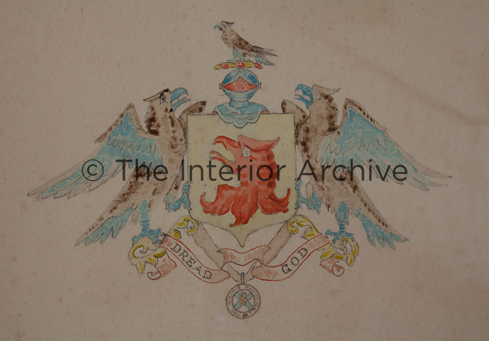 "A water colour and pencil drawing of the Munros' coat of arms with their Presbyterian motto, ""Dread God"""