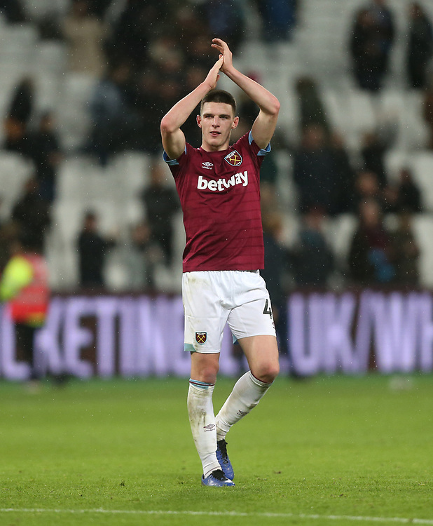 West Ham United's Declan Rice applauds the fans at the end of the game<br /> <br /> Photographer Rob Newell/CameraSport<br /> <br /> The Premier League - West Ham United v Cardiff City - Tuesday 4th December 2018 - London Stadium - London<br /> <br /> World Copyright © 2018 CameraSport. All rights reserved. 43 Linden Ave. Countesthorpe. Leicester. England. LE8 5PG - Tel: +44 (0) 116 277 4147 - admin@camerasport.com - www.camerasport.com