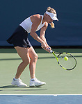 August 18,2017:   Caroline Wozniacki (DEN) loses to Karolina Pliskova (CZE) 6-2 in the first set, at the Western & Southern Open being played at Lindner Family Tennis Center in Mason, Ohio.  ©Leslie Billman/Tennisclix/CSM