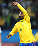 Juan celebrates after scoring the first goal  during the 2010 FIFA World Cup South Africa Round of Sixteen match between Brazil and Chile at Ellis Park Stadium on June 28, 2010 in Johannesburg, South Africa.