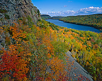 Porcupine Mountains Wilderness State Park, MI:  Lake of the Clouds in Carp River Valley from the Escarpment Trail with forest in fall color