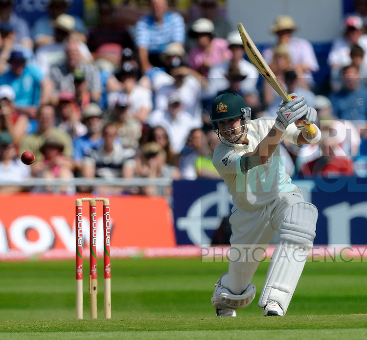 Australia's Michael Clarke reaches 93 before he is lbw to Graeme Onions.