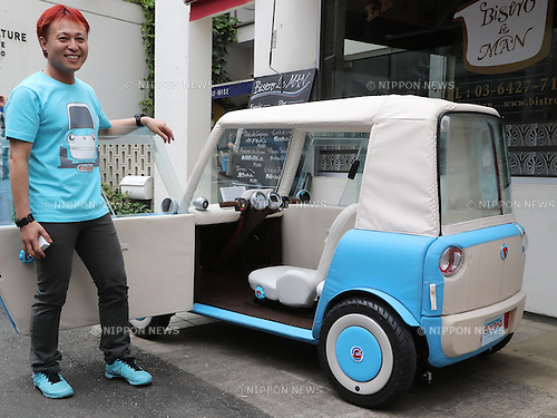 """May 20, 2016, Tokyo, Japan - Japanese car designer Kota Nezu displays the prototype model of the electric powered personal mobility """"rimOnO"""" in Tokyo on Friday, May 20, 2016. The rimOnO, 2m in length and 1m wideth, is equipped with in-wheel motors to drive two seater light weight body which is made by soft materials.  (Photo by Yoshio Tsunoda/AFLO) LWX -ytd-"""