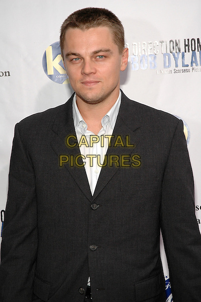 "LEONARDO DiCAPRIO.The premiere of ""No Direction Home: Bob Dylan"",  a feature length film biography on DVD directed by Martin Scorsese at the Ziegfeld Theater in Manhattan, New York, New York. .September 19th, 2005.Photo Credit: Patti Ouderkirk/AdMedia/Capital Pictures.Ref: PO/ADM.half length black suit jacket.www.capitalpictures.com.sales@capitalpictures.com.© Capital Pictures."