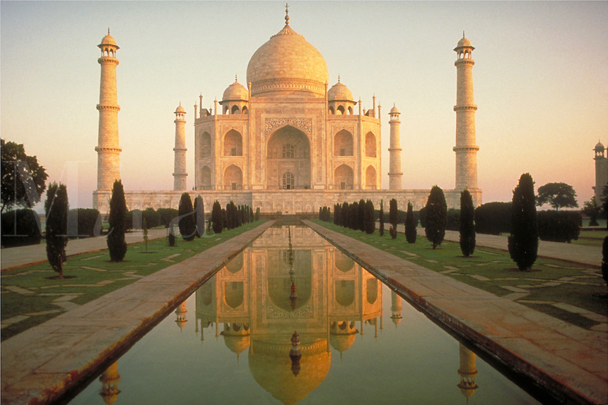 Taj Mahal, overview, Agra, India. Built by Shah Jahan as a mausoleum for his favorite wife. Landmark. ornamental architecture. death, burial customs, romance. Agra Uttar Pradesh India Asia.