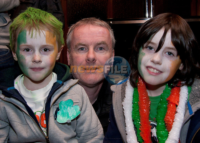 Daniel, Derek and Matthew Judge in McPhails for St. Patrick's Day..Picture: Shane Maguire / www.newsfile.ie.