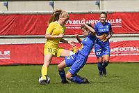 20190422 - Denderleeuw, BELGIUM : Yellow Flame Tess Lameir (L) and Gent's Lyndsey Van Belle (R) pictured during the final of the Under 16 Belgian Cup 2019, a soccer game between AA GENT Ladies B and The Yellow Flames1.0 , in the Van Roystadion in Denderleeuw , Monday 22 th April 2019  , PHOTO SPORTPIX.BE / DIRK VUYLSTEKE