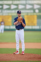 Elizabethton Twins relief pitcher Austin Schulfer (16) looks in for the sign during a game against the Bristol Pirates on July 29, 2018 at Joe O'Brien Field in Elizabethton, Tennessee.  Bristol defeated Elizabethton 7-4.  (Mike Janes/Four Seam Images)