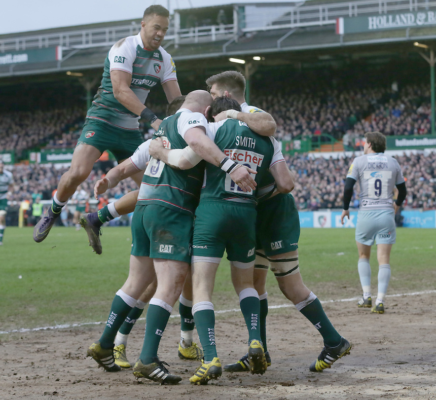 Leicester Tigers Celebrate with Leicester Tigers' Matt Smith after he scores his team first try<br /> <br /> Photographer Rachel Holborn/CameraSport<br /> <br /> Rugby Union - Aviva Premiership Round 9 - Leicester Tigers v Northampton Saints - Saturday 9th January 2016 - Welford Road - Leicester<br /> <br /> &copy; CameraSport - 43 Linden Ave. Countesthorpe. Leicester. England. LE8 5PG - Tel: +44 (0) 116 277 4147 - admin@camerasport.com - www.camerasport.com