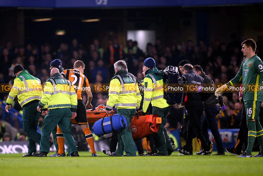 Hull City captain, Michael Dawson, shows his concern as Ryan Mason is carried off during Chelsea vs Hull City, Premier League Football at Stamford Bridge on 22nd January 2017