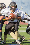 Santa Monica, CA 10/17/13 - Emilio Nunziati (Peninsula #9) in action during the Peninsula vs Santa Monica Junior Varsity football game at Santa Monica High School.