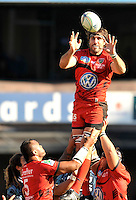 Cardiff, Wales.  Juan Fernandez Lobbe of Toulon wins the line out during the Heineken Cup Match between Cardiff Blues and Toulon at The Arms Park on October 21, 2012 in Cardiff, Wales