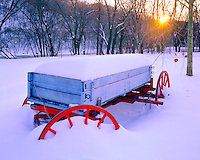 Wagon in Deep Snow, Harpers Ferry National Historical Park, Historic Civil War Site along Shenandoah River, West Virginia